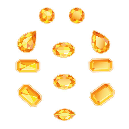 Amber and topaz different cut  Bright sunny gems on a white background  More - in my portfolio