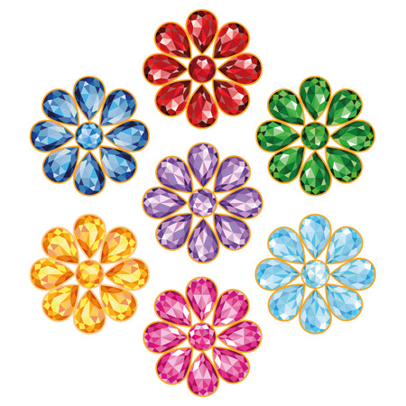 Pattern of seven flowers, composed of precious stones of different colors - blue  sapphire , red  ruby , green  emerald , purple  amethyst , yellow  topaz, amber , blue and pink  diamonds   Mid flower - round stone, petals in the form of drops