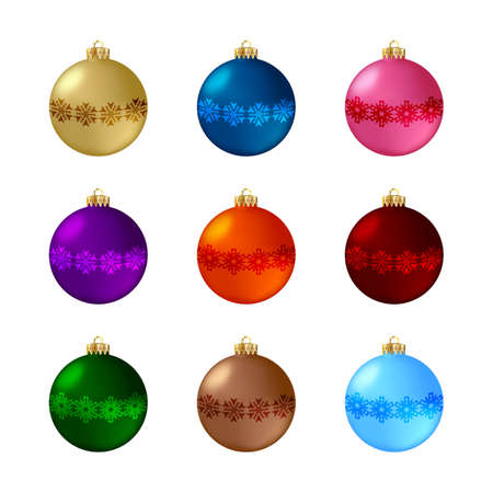 Illustration pour Set of decorative Christmas balls. Isolated objects on white background, vector illustration - image libre de droit