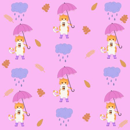 Vector Graphics Beautiful Colorful Cartoon Pattern With Cute Cat Clouds Leaves Sweet Autumnal Pattern Light Pink Background Tasmeemme Com
