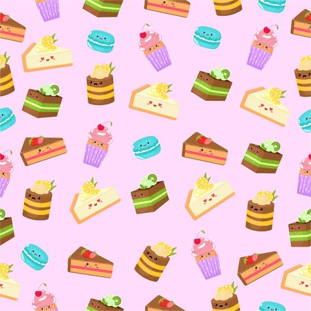 Illustration pour Vector graphics. Cute pattern with different sweet pastries. Funny cartoon characters. Colorful pattern.  - image libre de droit