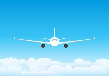 Illustration for The plane flies in the clouds against the blue sky. Sky with clouds and flying commercial aircraft. Vector illustration of sky with clouds. - Royalty Free Image
