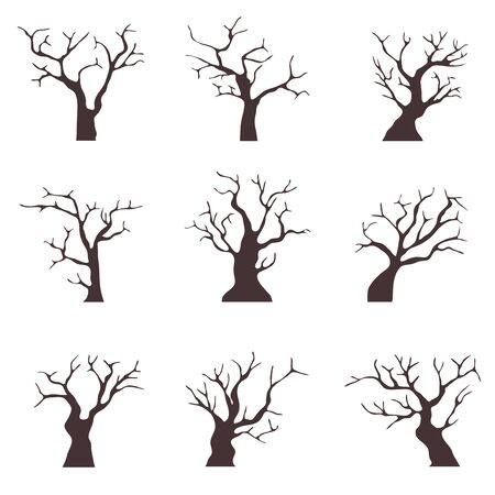 Illustration pour Old trees without leaves. A collection of old black trees with dry branches. Cartoon illustration of old dry wood. Vector - image libre de droit