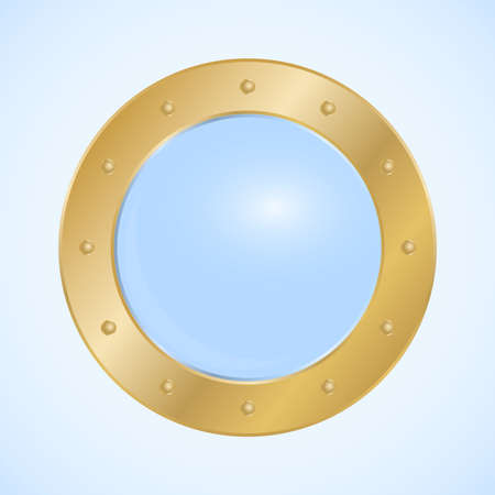 Round porthole, round golden porthole window isolated on light background. Vector, cartoon illustration. Vector.