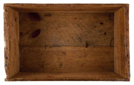 take a look inside the really old wooden box, isolated on white