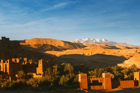 Ait Benhaddou Ksar Kasbah, Morocco, Africa, in sunset