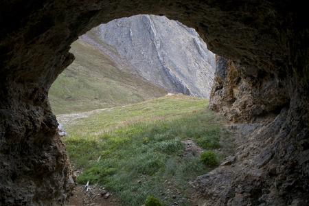Big grotto in the mountains. Ridge Cherskogo. Yakutia. Russia.