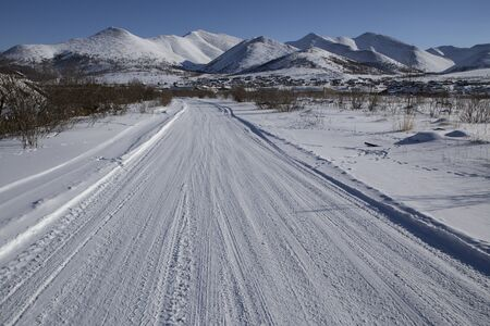 Winter road to the mountains. The village Deputatsky. Yakutia. Russia.