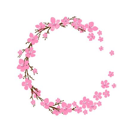 Illustration pour Spring wreath with cherry blossoms. Place for text. - image libre de droit