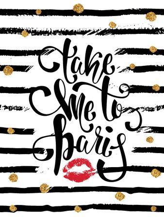 Illustration pour Romantic wallpaper. Take me to Paris sign. - image libre de droit