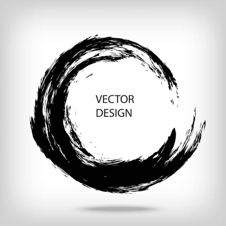 Illustration pour Hand drawn circle shape. Circular label, design element, frame. Brush abstract wave. Black enso zen symbol. Vector illustration. Place for text. - image libre de droit