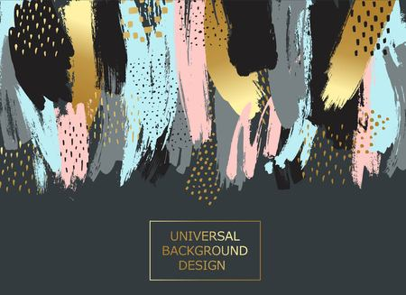 Creative universal card, background with hand drawn textures. Vector art frame for text with gold and black.