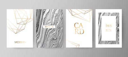 Set of modern elegant brochure, card, background, cover.Grey, black marble texture. Golden geometric frame