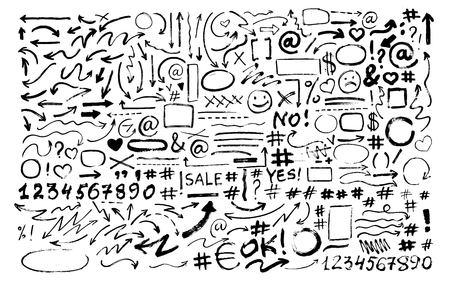 Ilustración de Set of hand drawn arrows, icons, hashtags. Social symbols. - Imagen libre de derechos