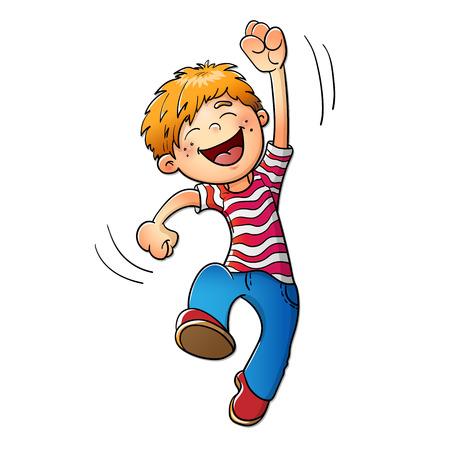 Ilustración de Young boy jumping isolated on white background - Imagen libre de derechos