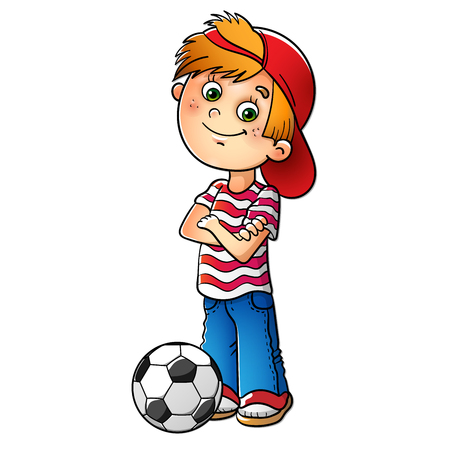 Vektor für Boy in a red cap and striped t-shirt  with a soccer ball isolated on white - Lizenzfreies Bild