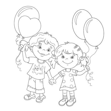 Children And Balloons Illustration