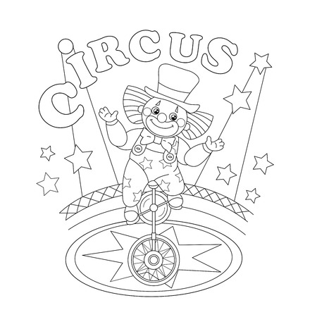 Circus Clown Coloring Illustration
