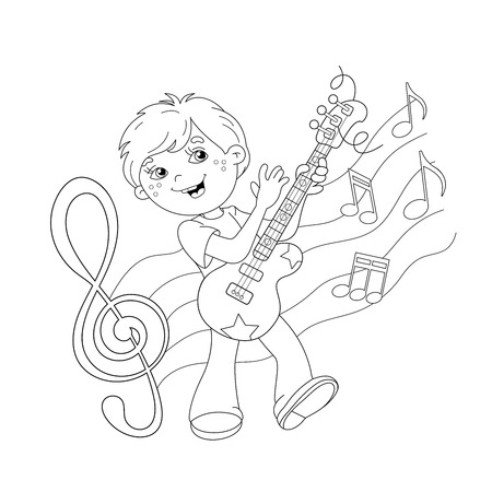 Guitar Kid Coloring Illustration
