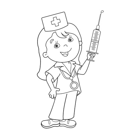 Coloring Page Outline Of cartoon doctor with a syringe. Profession. Medicine. Coloring book for kids