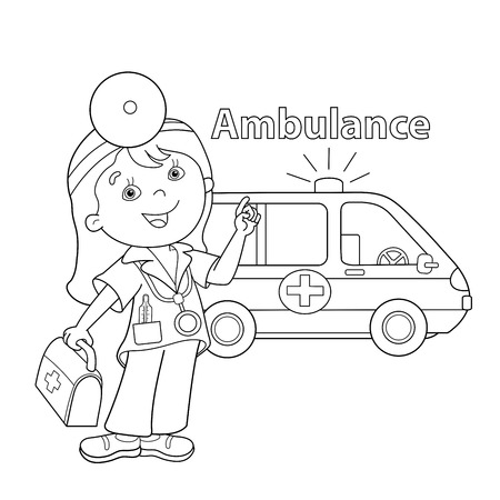 Coloring Page Outline Of Cartoon Doctor With First Aid Kit. Ambulance Car.  Profession. Medicine. Coloring Book For Kids: Royalty-free Vector Graphics