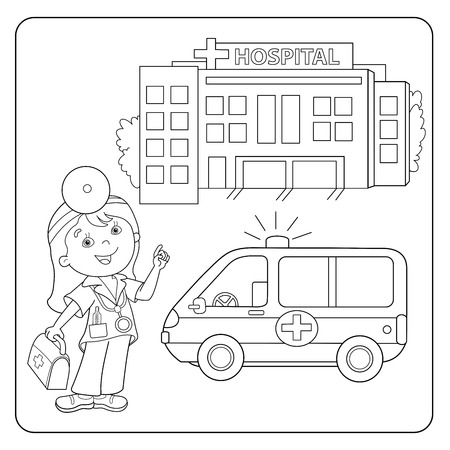 Coloring Page Outline Of Cartoon Doctor With First Aid Kit. Profession.  Medicine. Coloring Book For Kids: Royalty-free Vector Graphics