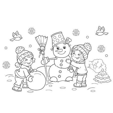 - Coloring Page Outline Of Cartoon Boy With Girl Making Snowman Together.  Winter. Coloring Book For Kids: Royalty-free Vector Graphics