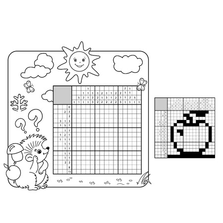 Education Puzzle Game for school Children. Apple. Black and white japanese crossword with answer. Graphic crossword. Coloring Page Outline Of hedgehog. Coloring book for kids