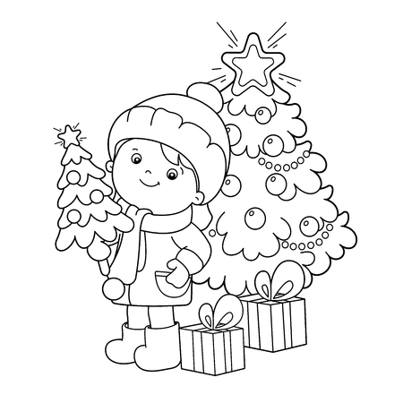 Illustration pour Coloring Page Outline Of girl with gifts at Christmas tree. Christmas. New year. Coloring book for kids - image libre de droit