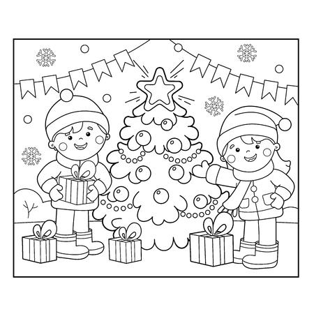Ilustración de Coloring Page Outline Of children with gifts at Christmas tree - Imagen libre de derechos
