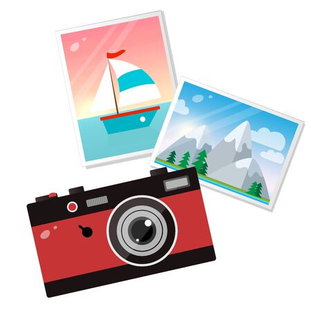 Illustration pour Color image of red photo camera with pictures on white background. Hobbies and tourism. Vector illustration. - image libre de droit