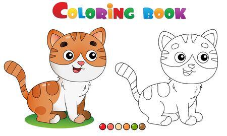 Ilustración de Coloring Page Outline of cartoon striped cat. Pets. Coloring book for kids. - Imagen libre de derechos