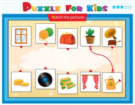 Illustration pour Matching game, education game for children. Puzzle for kids. Match the right object. - image libre de droit