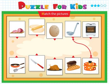Illustration for Matching game, education game for children. Puzzle for kids. Match the right object. Foods. Tableware and cookware. - Royalty Free Image