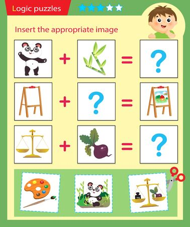 Illustration pour Logic puzzle for kids. Matching game, education game for children. Match the right object. Worksheet vector design for preschoolers. - image libre de droit