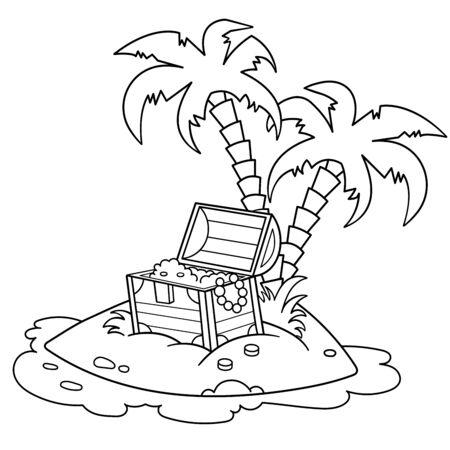 Ilustración de Coloring Page Outline Of Cartoon Island of treasure. Coloring book for kids. Vector image for pirate party for children. - Imagen libre de derechos
