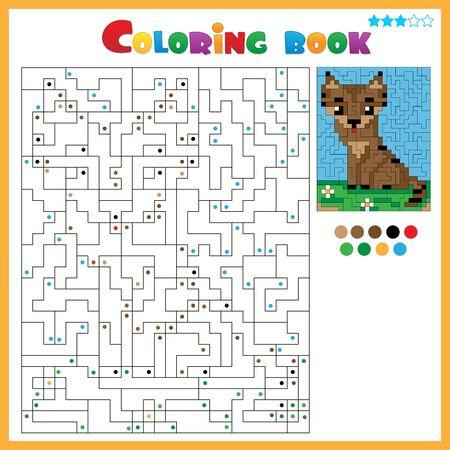 Illustration pour Cat. Coloring book for kids. Colorful Puzzle Game for Children with answer. - image libre de droit
