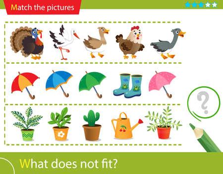 Illustration pour Logic puzzle for kids. What does not fit? Farm bird or poultry. Umbrellas. Indoor plants. Matching game, education game for children. Worksheet vector design for preschoolers. - image libre de droit