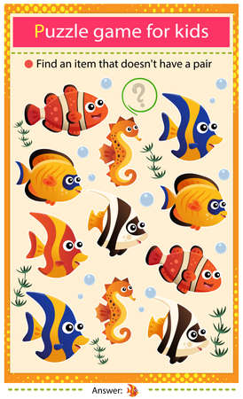 Illustration pour Find a item that does not have a pair. Puzzle for kids. Matching game, education game for children. Color images of aquarium fishes. Clownfish, guppy, angelfish, seahorse. Worksheet to develop attention. - image libre de droit