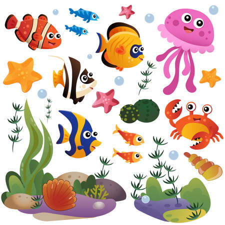 Illustration pour Cartoon marine inhabitants of the underwater world. Coral reef with little fishes, jellyfish, crab and sea star. Colorful vector set for kids. - image libre de droit