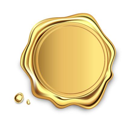 Illustration pour Gold stamp wax seal approval sealing retro label set. Quality guarantee label. Elite. - image libre de droit
