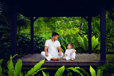 Father teaches son to find inner balance