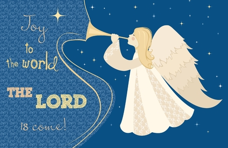 Illustration pour Christmas card. Angel with pipe in his hand. Vector illustration - image libre de droit