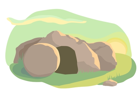 Illustration pour Easter illustration of opened empty cave. Morning light. Vector - image libre de droit