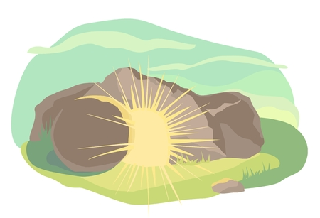 Illustration pour Easter illustration of opened cave with light inside. Morning light. Vector - image libre de droit