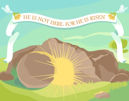 Illustration pour Easter illustration of opened cave with light inside. White ribbon with text: He is not here: for He is risen. Sunday morning. Vector - image libre de droit