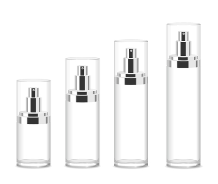 Illustration pour Four transparent acrylic cosmetic bottles isolated on white. Different sizes. Place for your text. Detailed vector illustration - image libre de droit