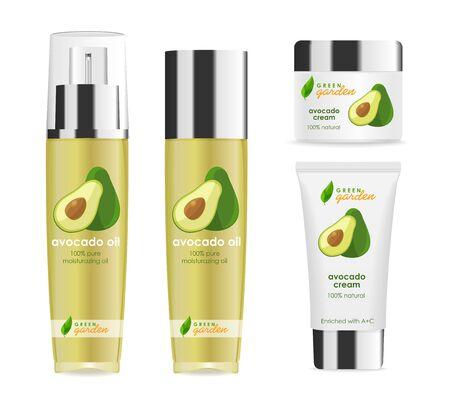 Illustration pour Four realistic cosmetic tubes with silver caps, avocado design - image libre de droit