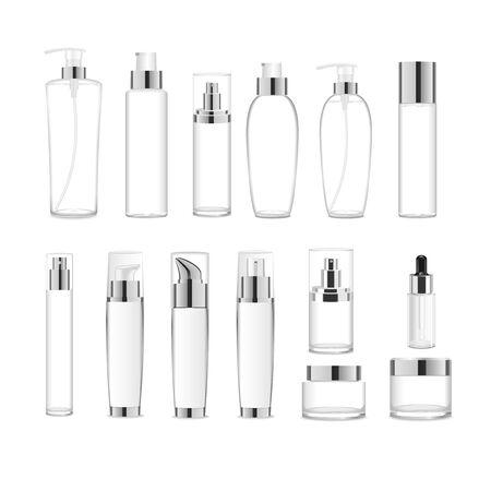 Illustration pour Group af transparent acrylic cosmetic packages. Vector - image libre de droit