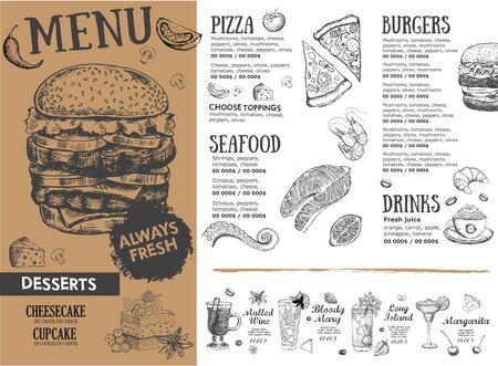 Illustration pour Coffee menu. Restaurant cafe menu, template design. Food flyer. - image libre de droit